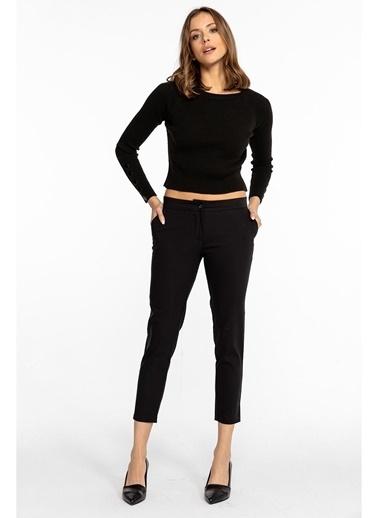 Tiffany&Tomato Yandan Cepli Klasik Pantolon-Siyah Siyah